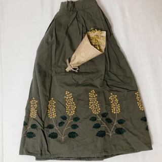 エヘカソポ(ehka sopo)のミモザ 刺繍 スカート(ひざ丈スカート)