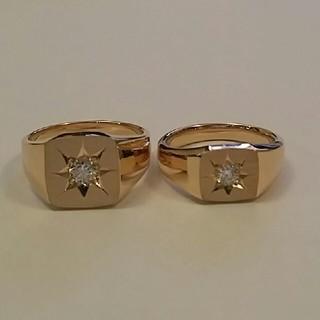 K18 印台 指輪 リング ダイヤモンド付(リング(指輪))