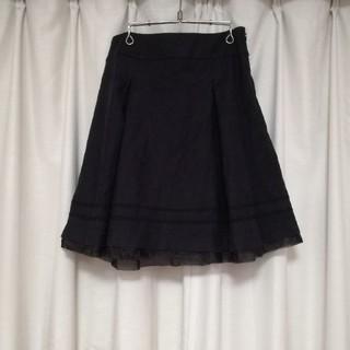 アールエフ(R・F)の黒 A.Rose  台形スカート チュールレース RF ブラック エムドゥ(ひざ丈スカート)