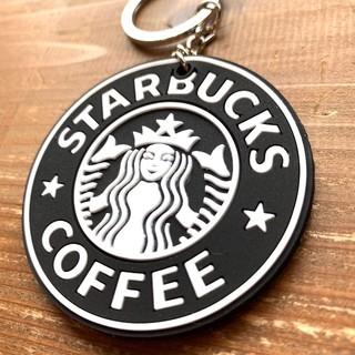 スターバックスコーヒー(Starbucks Coffee)のスターバックス ロゴ 両面ラバー キーホルダー ブラック(キーホルダー)
