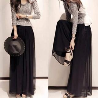 dholic - 韓国ファッション ワイドパンツ シフォンパンツ ハイウエストパンツ ブラック
