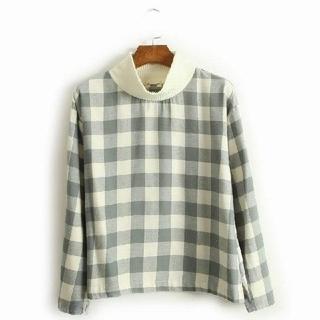 dholic - 韓国ファッション プルオーバーシャツ チェック柄シャツ