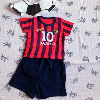 ベビーギャップ(babyGAP)のサッカーユニフォーム風ロンパース ショートパンツ スタイ セット(ロンパース)
