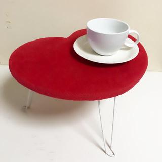 【ハート型/レッド】ミニテーブル折りたたみ(折たたみテーブル)