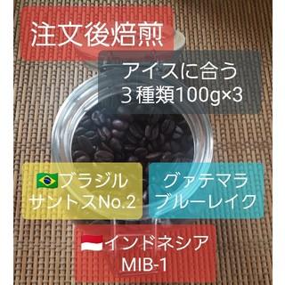 注文後焙煎 アイスに合う珈琲豆3種類 100g×3種類(コーヒー)
