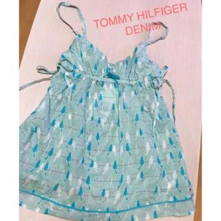 トミーヒルフィガー(TOMMY HILFIGER)のTOMMY HILFIGER DENIM❤︎水色シャーリングキャミソール(キャミソール)