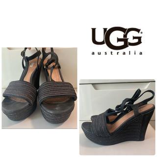 UGG - UGG ブラックスエード ウエッジ サンダル