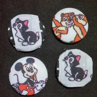 ディズニー(Disney)のくるみボタン ミッキー&フィガロ&チップとデール ハンドメイド(各種パーツ)