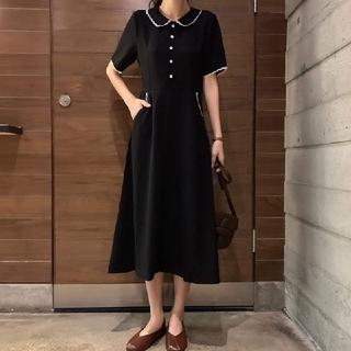 dholic - 韓国ファッション ロングワンピース レトロワンピース 襟付きワンピース