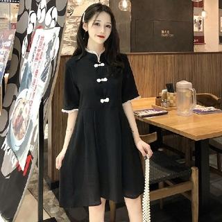 dholic - 韓国ファッション チャイナドレス風ワンピース マキシ丈ワンピース