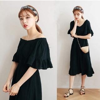 dholic - 韓国ファッション オフショルワンピース ロング丈ワンピース フリルワンピース