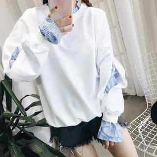 dholic - 韓国ファッション シャツドッキングスウェット スウェット トレーナー ホワイト