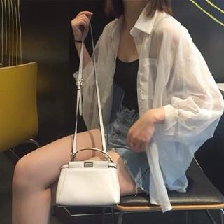 dholic - 韓国ファッション シースルーシャツ メッシュシフォンシャツ 白シャツ