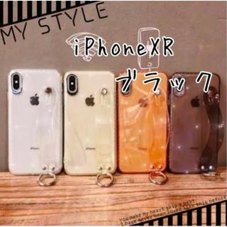 【最安値】iPhone XR スマホケース リングベルト クリアブラック(iPhoneケース)