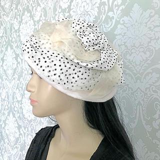 バラ水玉ベレー帽 バラ色の帽子 原宿(ハンチング/ベレー帽)