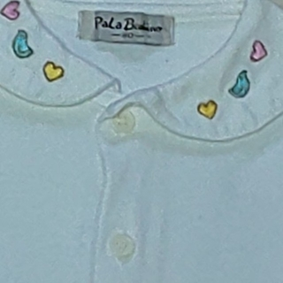 女の子80cm PaLa Bandino 白色長袖 バンビ刺繍 綿100%