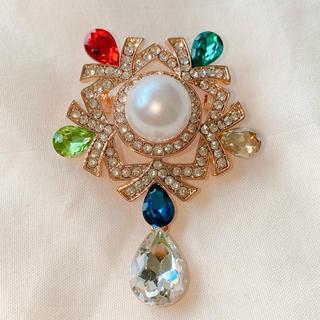Vivienne Westwood - ビジューとパールの結晶ブローチ カラフル マルチカラー 大きめ ◯一点物◯