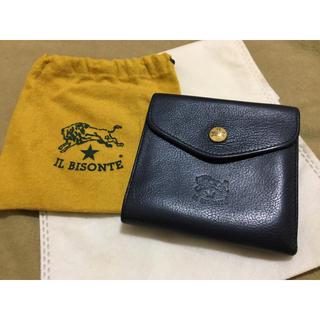 イルビゾンテ(IL BISONTE)の説明文必読 イルビゾンテ 正規品 イタリアンレザー 折り財布 ネイビー 紺色(折り財布)