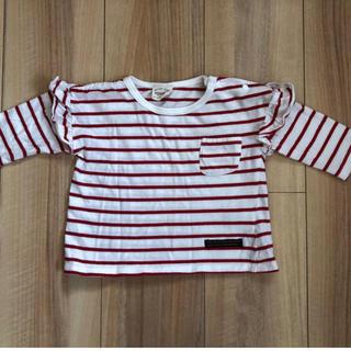 ニッセン(ニッセン)の90㎝  袖フリル赤ボーダーカットソー 7分丈(Tシャツ/カットソー)