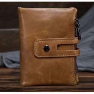 本革レザー 二つ折り財布 ブラウン ダメージ加工 お札入れ・コインケース付き(折り財布)