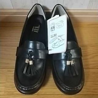 シマムラ(しまむら)のしまむら プチプラのあや タッセルローファー 黒 LL(ローファー/革靴)