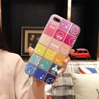 iPhone7 / 8 マルチ カラー 顔文字 キューブ ブロック ケース(iPhoneケース)