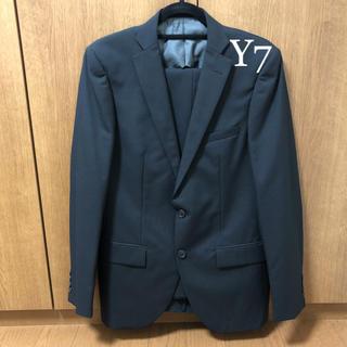 【新品未使用サンプル品】春夏 ウール混 スーツ Y7 ブラック 黒 グレー 灰(セットアップ)