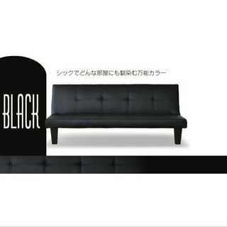 ブラック/ソファ/ベッド/レザー/リクライニング/スクエア脚□(ソファベッド)