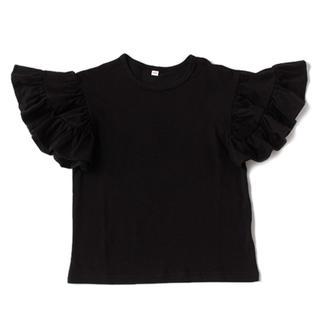 petit main - b-ROOM(ビールーム) 袖フリル半袖Tシャツ ブラック 黒 無地 100cm