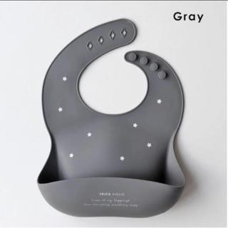 petit main - 【新品未使用】シリコンビブ TRICK  HOLIC 星柄 スター gray