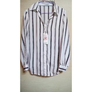 シマムラ(しまむら)の新品 しまむらストライプシャツ(シャツ/ブラウス(長袖/七分))