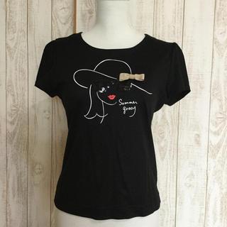エムズグレイシー(M'S GRACY)のM's GRACY トップス Tシャツ 黒系(Tシャツ(半袖/袖なし))