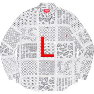 Supreme - supreme Paisley Grid Shirt ペイズリー白 Week13