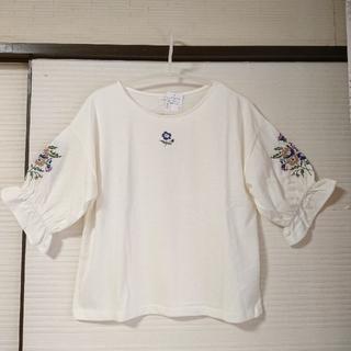 エヘカソポ(ehka sopo)の新品❗刺繍プルオーバー ▲M ボリュームスリーブ🌼キナリ 春(カットソー(半袖/袖なし))