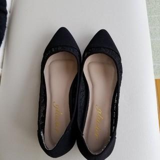 黒いレースの靴(ローファー/革靴)