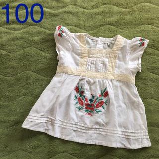 Seraph - 100セラフ  リネン混花柄刺繍トップス