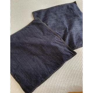 ムジルシリョウヒン(MUJI (無印良品))の無印良品 オーガニックコットン デニム ネイビー クッションカバー 2枚セット(クッションカバー)