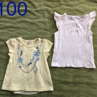 エニィファム(anyFAM)の2枚セット 100 エニィファムビジュー リボン付きTシャツ(Tシャツ/カットソー)