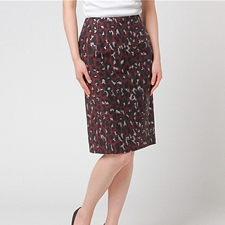 アナイ(ANAYI)のANAYI  レオパードジャカードタイトスカート 38(ひざ丈スカート)