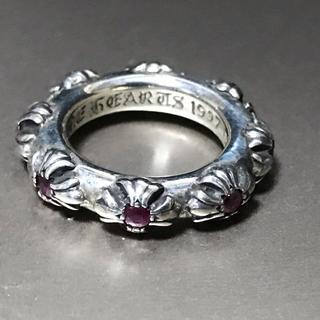 クロムハーツ(Chrome Hearts)の本物 クロムハーツ クロスバンドリング ルビー 10号 CHクロス リング 指輪(リング(指輪))