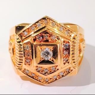 JEWELRY TSUTSUMI - メンズリング ゴールド ダイヤ k18 印台 ツツミ