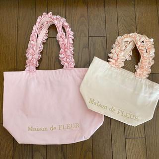 メゾンドフルール(Maison de FLEUR)のメゾンドフルール   フリル ハンドルトート M S ピンク 2点セット(トートバッグ)