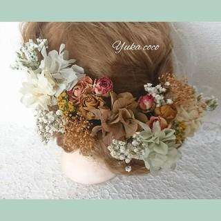 アンティークローズ ドライフラワー ヘッドドレス 髪飾り❁¨̮結婚式 成人式(ヘッドドレス/ドレス)