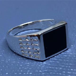 印台 オニキス シルバー925 四角 スクエア シグネット ギフト 銀 指輪(リング(指輪))