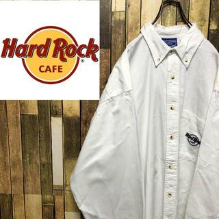 【ハードロックカフェ】ポケット刺繍ロゴ入り☆ビッグチノボタンダウンシャツ