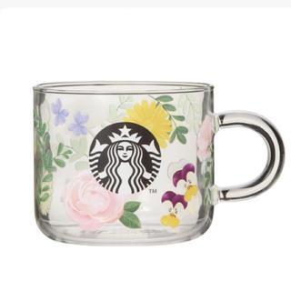 スターバックスコーヒー(Starbucks Coffee)の耐熱グラスマグフローラル(グラス/カップ)