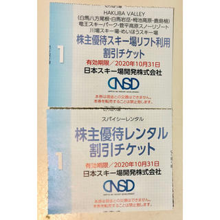 日本スキー場開発 株主優待券 リフト利用割引チケット&レンタル割引チケット(スキー場)