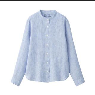 MUJI (無印良品) - 無印良品オーガニックリネン洗いざらしスタンドカラーシャツ 婦人M