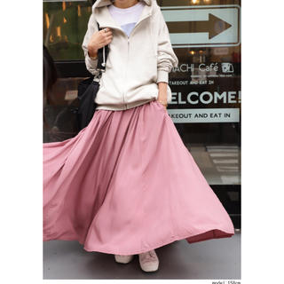 アンティカ(antiqua)のアンティカ 完売品ドレープ フレアースカート 新品未使用タグ付き ピンク(ロングスカート)