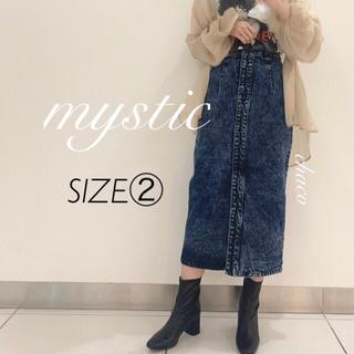 mystic - 新作🍭¥7590【mystic】ケミカルデニムタイトスカート ブルー ②
